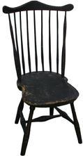 "S574  New England Fan Back Windsor Chair, early black paint with red pin striping,  7 spindles forming Fan support. Sausages turned legs joined by H stretcher support the seat, circa 1790 -1800  signed P.P. underneath. Measures  seat to the floor 15 1/2"" back 36 1/4"" tall"