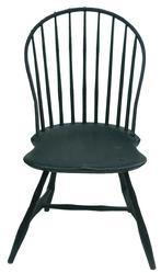 X594 Rhode Island bow back Windsor Chair with green over black paint, nine spindle back, with sausage turnings, circa 1790- 1810