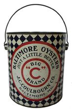 B459  Baltimore Oysters Bic C Brand 1 gallon tin with lid and wire bail. JC Coulbourn Co., Baltimore, MD-established 1910