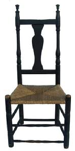 Y292 Early 18th century banister back Queen Anne side Chair, from North Branford Connecticut, circa 1740-1760 , early black paint over the original green. The Chair has very unusual Urn shaped finials, the front front stretchers show wear