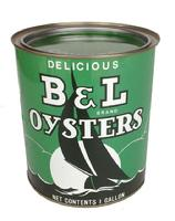 B114 One gallon B&L brand Oyster can with a 16 Oz tin. These cans are marked Princess Anne, MD distributors .Near mint condition!