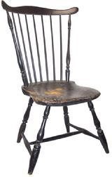 "Fan back Windsor side Chair with the original black paint, as found condition, circa 1780-1800 seat 16"" high x 35"" tall back"