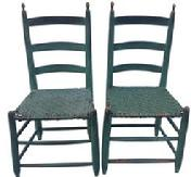 Z486 matching pair Virginia Antique Early 19th Century Ladder Back Chairs with very gracefully turned Finial, original seats, wonderful original green paint