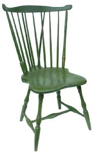 "Y169 Late 18th century Pennsylvania Windsor braced fan back side Chair, circa 1770-1790 serpentine crest rail,seven spindle backwith turned supports,shield shaped seat and turned splayed legs with bulbous H stretcher lgreen paint with ivvory highlights.  seat heigh 17""x 35 1/2"" high overall"