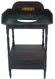 Y30  Early 19th century New England  Paint Decorated Washstand   great size and form. Unusual graphic design. Dovetailed drawer and gallery, very gracefully turned legs circa 1820