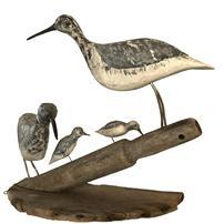 F44 Shore Birds from Eastern Shore, Virginia. Group of Shore Birds mounted on an old boat oar handle and part of an old bushel basket bottom. Very unique.