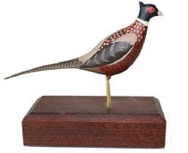 "B380 William J. Bellerille  Wood Carved Ringneck Pheasant Signed, dated 1973 Ardmore Pennsylvania 4 3/4"" long x 4"""