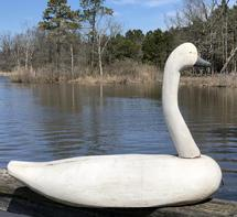 E104 Eastern Shore Maryland Dorchester County, large white Swan carved by Captain Billy Mills from Crockenon MD.lower Dorchester County