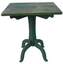 "R172 19th  Eastern Shore Delaware Candle stand, with the original green paint. Two board top construction, which is supported by two battens under the top, the base pedestal is very simple in design, with a slite lamb's tongue. the four legs are mortised into the pedestal and pegged. The top is pegged on also, but over the years a few nails have been added.The table is made of 1"" stock and was all hand crafted,"
