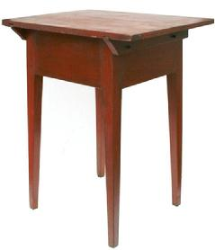 V114 Pennsylvania Country Hepplewhite Cherry Pin Top Work Stand with old red paint, circa. 1790-1810. Two board top with beveled support boards pinned and pegged construction, deep skirt and tapered legs.