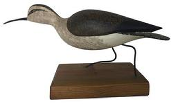 D337  Curlew wooden hand carved by  Rob Daily with metal legs and glass eyes