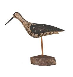 RM662 Folk Art Shorebird carved by Will Kirkpatrick, signed on bottom of bird WEK circa 1970. measures 9 1/4 tall
