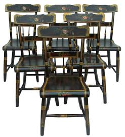 Z139 Early 19th century Pennsylvania set of six matching plank bottom Chairs with decorated paint, the back ground color is red with black decoration, The crest of the Chairs is a Lincoln drape, in gold with flower design in the center, On the middle crest and on the front of the set is a flower in the shape of a heart. circa 1830 � 1850