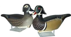 "X293 Pair of wood duck signed and dated  1988 by Bill Schauber What a great Pr. of Woodduck Duck Decoys these two are.They are matched,signed,& dated by the carver,Bill Schauber of Chestertown, Maryland.They are 13"" from the tip of bill to the tip of tail.They both have glass eyes & their detail & painting is magnificent."