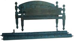 "V271  Early 19th century original blue painted Rope Bed, with acron turned post, circa 1820 1830 52 1/2"" wide x 76"" long x 35"" tall"