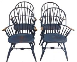 "A100 FOUR WINDSOR-STYLE CHAIRS BY CHRIS HARTER.   New Jersey,four of his earlier hand made Chairs  mixed woods. Distressed blue paint. Labeled on the underside. 18"" seat"