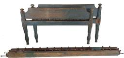 B29 19th century Pennsylvania , original dry blue painted rope Bed, block-turned posts , mortised head and footboard, ,very sturdy when set up , circa 1820