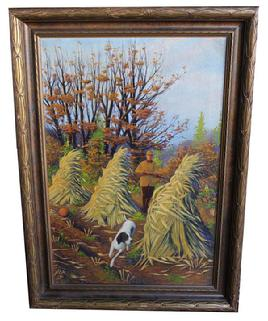 B11 Early 20th century painting of Hunting Scene in the Fall, oil on canvas in original frame circa 1920