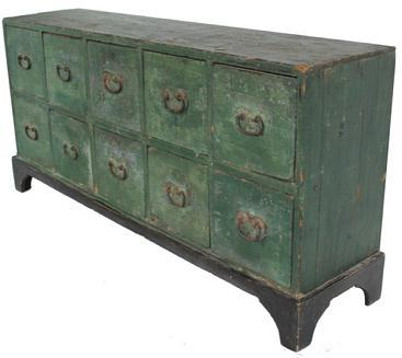 W169 (LD) Early 19th century New England ten drawer Apothecary Chest early green paint over the original blue, wonderful blacksmith made heart shaped hardware, One board square head nail construction. The dividers between each drawer is beaded,found in CT. circa 1800 - 1820