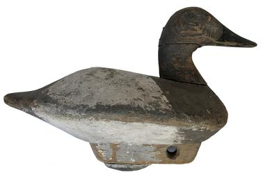 E373 Early Canvasback Hen with very unusual hand-chopped body and wooden keel with iron weight. Glass eyes. Tight crack to the neck. Circa 1940�s � Bishop Head Club - Maker unknown.  Measurements: 14� long x 10� tall with keel/weight x 6 1/2� wide