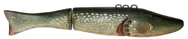 "E367 Folk Art ice Fishng Decoy with a hinged tail, two inset brass coins, J.E. in trade  Measurements are: 12"" long x 2 1/4"" tall  x 2"" wide"
