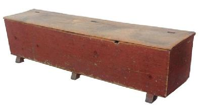 U375 Late 18th century or early 19th century, Lancaster Co.(1790-1810) Wood Box with original dry red paint. Dovetailed case, original shoe feet, and hardware one board constructionl