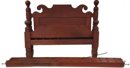 "D212 Early 19th century Lancaster Pennsylvania over size rope bed ( queen size) with the original beautiful dry red paint  (circa 1825-40),. Four deeply turned  posts having cannon ball finials; with a raised panel head board  original rails retaining the rope pegs; hand-forged steel bolts.  Measurements are: 56 1/4 "" wide x 46"" tall 90"" long"