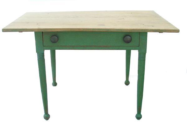 Z190 Early 19th century  Pennsylvania Country Sheraton Maple Scrubbed Top  Table. Two board top,held in place with wooden pegs, full width skirt , dovetailed drawer,  very gracefully turned legs with turnip feet and original apple green paint. circa 1820