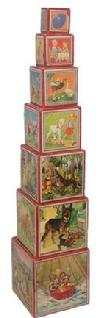 Z529 This is a wonderful antique set of nesting or stacking blocks. They are made of wood with paper. They have scenes with children and animals