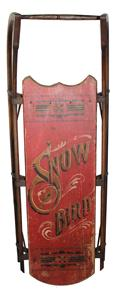 "TF1  Child's Sled made by  Paris Mfg. Co  bowrunner,hand painted red back ground  with gold and black and white lettering, the Snow Bird, with a bird painted setting on the S Measurements are; 38"" long x 15 1/2"" wide x 12 1/2"" tall"