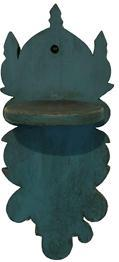 A220 19th Century Wall Mounted candle Shelf, Beautiful blue paint, with scalloped cut-outs and circular shelf