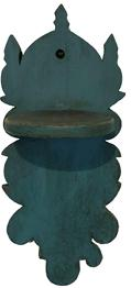 "A220  19th Century  Wall Mounted candle  Shelf, Beautiful blue paint, with scalloped cut-outs and circular shelf mortised into backboard. 16""h. x 7""w. x 6 1/2""d. Condition: Good, surface wear."