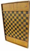 "B628 Painted pine gameboard, 19th c., retaining its original yellow and  black surface, 19 1/2"" x 29"