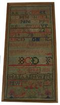 "X14 Early 19th century American Sampler from Frederick Maryland, with great colors, with the Initials M.W and J.C. with a basket of flowers and  hearts and trees and Dog . Measurement are 8 7/8"" x 17 7/8"" long"