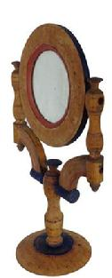 RM143 19th century Shaving Mirror with beautiful yellow, bittersweet and blue paint,The mirror pivotes, original old mirror