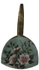 "D681 19th century antique treen butter paddle with a desirable folk art hand paintedflower  measures 9 1/2"" long 5 1/2"" wide"