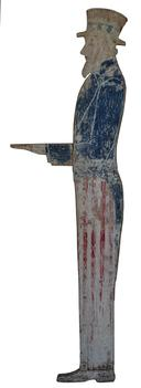 "C558 Early 20th century  Folk Art UNCLE SAM , All wood profile of Uncle Sam,  could be  mounted . CONDITION: Original paint, structurally sound. measurements 56"" tall  16"" wide 3/4 "" thick"
