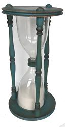RM1020 Original Blue painted oversized HourGlass, blown glass with saind running approximatley one hour encased in a wood base and top with three spindles
