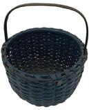 W304 Painted Woven Splint Gathering Basket, American, late 19th century,  carved upright handle,