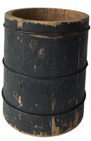 "D182 19th century  Wooden peck and half peck  measuring bucket, with the original black paint, Measurement are: 12 1/2"" tall x 11' diameter bottom"