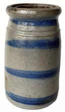 "G71 Cobalt-Decorated four-Stripe Stoneware Canning Jar, Western PA origin, circa 1875, tapered jar with tooled shoulder and semi-rounded rim with wax sealer interior, 8"" tall x 5"" diameter"