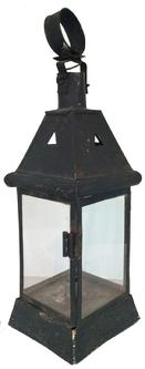 "(J687) Early 19th century Pennslyvania hand made Lantern with four window lights that   , in old black paint, with a hinged door that open on one side,  great piece of fold art lighting, Measurements are: 16 1/2"" tall x 5"" wide x 5"" deep"