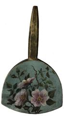 D681 19th century hand painted Butter Paddle flowers painted on wood,