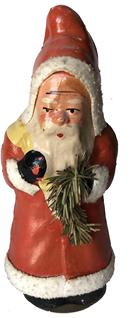 E524Vintage Christmas Santa Candy Container Paper Mache Pulp standing 9'' Tall  The Santa has an adorable face and is well made,Circa 1940