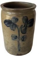 "E301 Peter Herman signed  Crock, This crock was made in Baltimore circa 1850 to 1870. It is decorated in cobalt with  a oversize single stemmed,flower. The crock has an attractive, smooth-sided shape  Measurements are 11 1/2"" tall x 8 1/2 "" diameter"