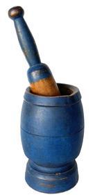 F422 19th Century Mortar and Pestle in Beautiful blue Paint This a very solid wood mortar and pestle dating from the mid 1800's.