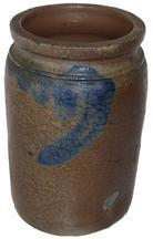 "X4 Wax sealer Storage crock Brush decorated unmarked Crock ,  Ca. 1850-1860   6 1/2"" tall"