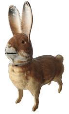 "E80 Vintage German papier mache rabbit candy container glass eyes Easter bunny 5"" long x 5 1/2"" tall x 1 3/4"" wide"