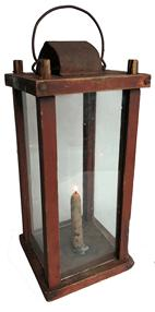 "RM1054 Early  barn lantern remaining in original red- paint� centering pierced chimney vent; chamfered top, bottom and corner posts �the corner posts mortised to top and bottom   Measurements are: 12"" tall x 5 1/2"" square"