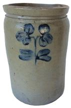 "X430  Peter Herman Crock, This crock was made in Baltimore circa 1850 to 1870. It is decorated in cobalt with  a single stemmed,flower. The crock has an attractive, smooth-sided shape  12"" tall x 8"" diameter"